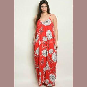 Harem Maxi Dress Plus Size Red Floral Loose Fit